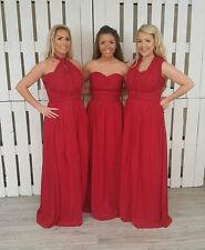 Red Multi Way Long Chiffon Bridesmaid Prom Dress Infinity Convertible Ballgown