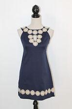 Lilly Pulitzer Navy Blue Sheath Gold Embellished Flower Applique Keyhole Dress 0