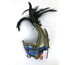 Halloween Mask Peacock Masquerade Mask Glitter Blue Gold Adult One Size  NEW