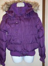 Decree Junior Fur Trim Hooded Bubble Jacket Purple Pennant Large (L) NWT