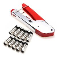 1X(Coax Compression Crimper F-Type Coaxial Cable Crimping Tool Pliers With 1 D1)