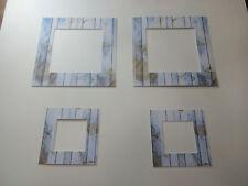 """4 passes partouts à motifs """"planche"""",biseaux blancs ext  : 30x30 cm et 18x18 cm"""