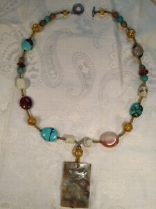 CARVED DRAGON PENDANT NECKLACE WITH SEMIPRECIOUS STONES AND WODDEN BEADS