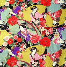 Japanese Cotton Fabric Remnant 48x55cm Ukiyoe Geisha Kimono Lady Black PC920