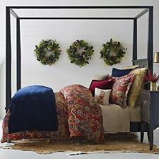 Cozy Merry Queen Full Duvet Cover Set, Red Blue Tan, Christmas Holidays, Paisley