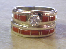 Native American Navajo Wilbert Muskett Sterling Red Coral Wedding Set Band 7 CZ