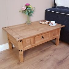Corona Coffee Table 1 Drawer Waxed Mexican Pine Solid Wood Living Room Furniture