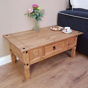 Corona Coffee Table Mexican Solid Pine 1 Drawer Livingroom by Mercers Furniture®