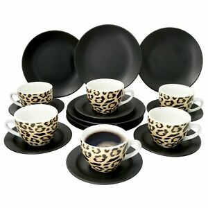 18-tlg. Leopard Lampart Kaffee-Service 6 Personen I Tasse + Untertasse + Teller