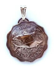Bahamas Fish Scalloped Coin Pendant Vintage Necklace Jewelry Caribbean Island