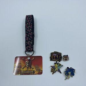 Disney Trading Pins Lot- Lanyard & 4 Pins Disney World Tinker bell, Pirates Dale