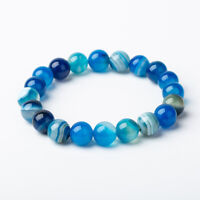 10MM Natural Blue Agate Beads Stone Stretch Bangle Bracelet Wristband Jewelry