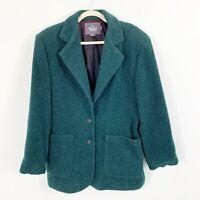 Woolrich Green Wool Mohair Blazer-style Coat Jacket Women's Size Medium Made USA