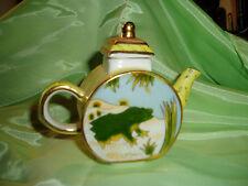 """Vintage Miniature Porcelain Tea Pot Frog Design """"Vivian Chan 200"""""""