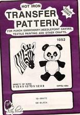 1980's VTG Pretty Punch Embroidery Zebra Koala Bear Transfer Pattern 1052