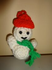 Snowman Ornament Holiday Christmas Tree Decoration Vintage Crochet Hand Craft