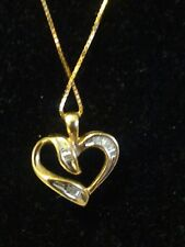 """Estate 10k Yellow Gold Heart and Diamond Pendant with a 14k   BOX CHAIN """"18"""""""