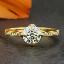 1.4 Carats Round Cut Moissanite Engagement Ring in 9k Solid Yellow Gold