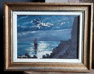 TABLEAU ancien 1960 signé Peinture huile isorel HSP Marine mer côte voilier lune