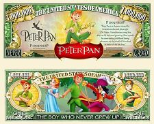 Peter Pan Million Dollar Bill Fake Play Funny Money Novelty Note + FREE SLEEVE