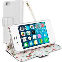 Coque Portefeuille Stand Pour iPhone 4S / 4 Cuir Eco Motif Floral Blanc  HD
