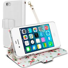 Funda Billetera Soporte para iPhone 4S / 4 Cuero Eco Patrón Floral Blanco HD