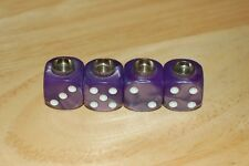 DUDDS DICE PURPLE PEARL w/WHITE DOTS VALVE STEM CAPS (4 PACK) #19