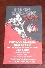 Chicago Blackhawks Pocket Schedule NHL  1977-78 NHL