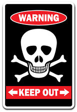 KEEP OUT WITH SKULL & CROSSBONES Warning Sign private property kids door room