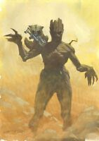 Rocket Raccoon and Groot from Guardians of the Galaxy Painted art by Esad Ribic