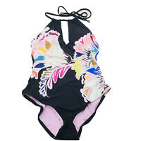 Trina Turk W's High Neck Halter One Piece Swimsuit ~ Seychelles Floral Size 10