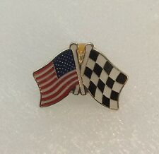 Brand New Brass Enamel Usa Flag & Racing Flag Hat Pin Lapel Pin Tac Back