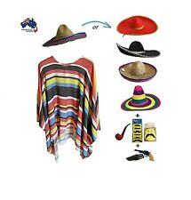 Mexican Poncho & Sombrero Hat Fiesta Set Party Fancy Dress Cowboy Bandit Costume