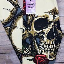 PLUS Skulls N Roses Leggings Skeleton Floral Halloween Buttery Curvy 10-18 TC