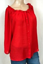 H&M Semi Sheer Red Button Down Blouse Women's Size 8