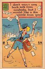 I DONT WANT ANY BACK TALK~DITZY BLONDE MAIL WOMAN~E L WHITIE COMIC POSTCARD 1940