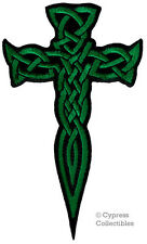CELTIC DAGGER CROSS iron-on PATCH embroidered IRISH CHRISTIAN RELIGIOUS GREEN