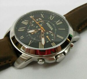"""Fossil Mens Leather Chronograph Watch FS4813, 10""""  Band Stainless Steel Body"""