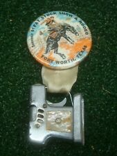 Vintage Fort Worth Fat Stock Show & Rodeo Souvenir Pinback Badge with Lighter