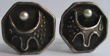 Vintage Plata Original Perla Dimensional Abstracto Crater como Gemelos