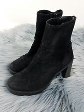 TOPSHOP Sz 39 AU8 Chunky Suede BOOTS Womens Heels Platform Leather Casual Black