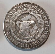 1938 Adolf Hitler / Germany / WW2 / Ein Fuhrer Exonumia Coin.