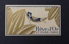 Ancienne carte parfumée REVE D'OR LT PIVER PARIS Maison Segrétain Angers