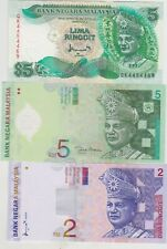 More details for six different malaysia 1,2 & 5 ringgit 1986 to 2004 banknotes in mint condition