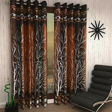 Polyester Door Curtain Set 2 Piece Eyelet  7ft  Brown