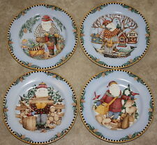 Sakura Woodland Santa Salad Dessert Plates Set of 4 Debbie Mumm Christmas 1998