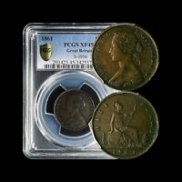 1861 Great Britain Half Penny - PCGS XF45 (Choice)  Top 20