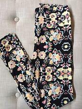 NWT LuLaRoe OS Floral Pastel Neon Paisley  Black Leggings One Size UNICORN