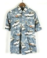 North River Outfitters Men's Button Classic Car Shirt Short Sleeve Blue Sz Large