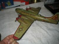 Vintage *Yonezawa Japan BK-250 USAF FRICTION Bomber Tin Airplane rough 15x19in.
